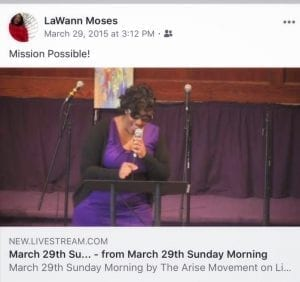 LaWann Moses speaking 2015 Palm Sunday at The Arise Church, Wilmington, DE